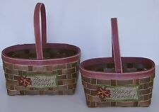 2 Hand Woven Wicker Baskets Handles Happy Harvest Thanksgiving Decoration 2 Size