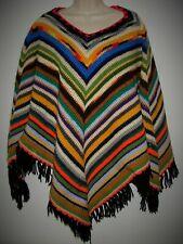 Vintage Handmade Crochet Knitted Striped Afghan Poncho Wrap Shawl w/ Fringe