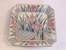 hzz30 JAPANESE PORCELAIN VINTAGE IRIS MOTIF BOWL square, floral transfer Arita