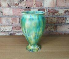 "Art Deco Green Studio Pottery Drip Glazed Vase 10"" Height"