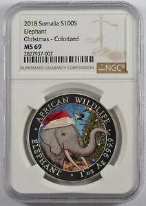 2018 Somalia African Wildlife Elephant 100 shillings Christmas Colorized MS 69