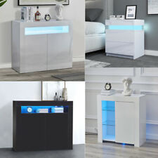 High Gloss Sideboards Storage Cabinets 1/2 Door Buffet Cupboards with LED Light
