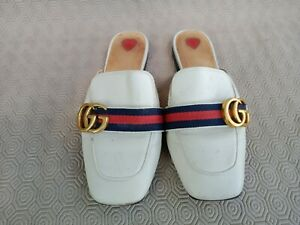 GUCCI White Leather Peyton Marmont Mule 423649 Size 35 Made In Italy