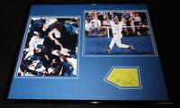 Joe Carter Signed Framed 16x20 Photo Set World Series HR Blue Jays at Home Plate