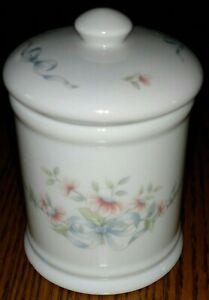 Princess House Exclusive compote jar pink flowers blue ribbon fine porcelain