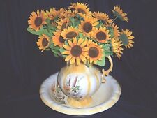 Vintage Pitcher & Wash Bowl Basin White & Yellow Floral Cattails