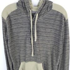 Dikotomy mens/boys pullover hoodie gray/beige stripes size Large lightweight