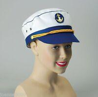 *Adult Ladies Sea Marine Captain Sailor Fancy Dress Costume Cap Hat with Anchor*