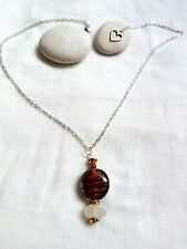 Three tone lampwork bead and white sea glass stacked pendant  necklace
