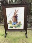 VINTAGE 1930s OAK FRAMED FIRESCREEN EMBROIDERED WINDMILL WELL DETAILED