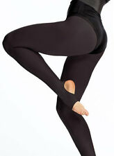Women's-Ladies Matte Stirrup Dance Tights Tan - Black Color Small-Large By Silky