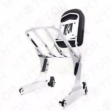 HTTMT Chrome Detachable Sissy Bar Backrest & Luggage Rack for Harley Softail FLH