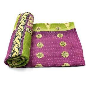 Vintage Kantha Quilt Indian Handmade Cotton Bedspread Sashiko Throw Blanket