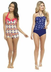 Womens Tankini Set Halter Neck Top + Shorts With Support Control Ladies Size