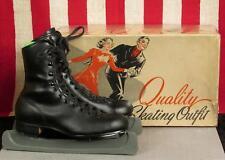Vintage 1940s Black Leather Ice Skates with Original Box Sz.3 Icecablades Nice!