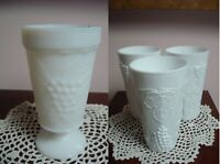 Indiana Colony Harvest Milk Glass 4 Paneled Tumblers / 3 footed cup/grapes 7PCS