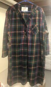 Vtg Victoria Secret Authentic Country Cotton Tartan Plaid Sleep shirt Size L/XL