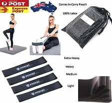 Set Of 4 YOGA Heavy Duty Resistance Band Loop Power GYM Workout Exercise Fitness