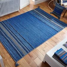 Oriental Weavers Kelim Rug Runner Cushion Hand Woven Cotton & Chenille Blue 70 X 140 Cm