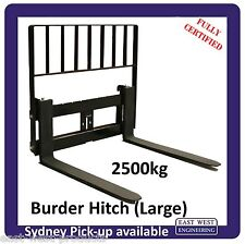 BURDER STYLE QUICK HITCH PALLET FORKS WITH LOADGUARD FOR LARGE HITCH 2500kg
