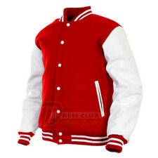 Varsity College Baseball Red Wool Body and White Real Leather Sleeves Jacket