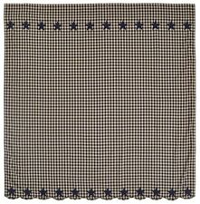 """Primitive Country Navy Star Shower Curtain Cotton Check Size 1/2"""" Farmhouse"""