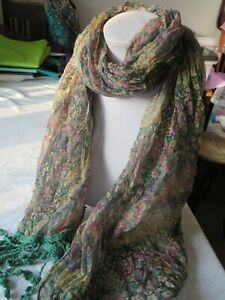 Soft, light ruched scarf with tiny floral print in pastel shades & green tassels