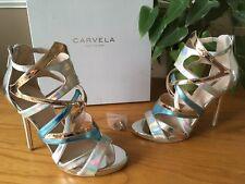 Carvela Kurt Geiger silver gold strappy peep toe shoes UK 5 EU 38 BNIB RRP £140