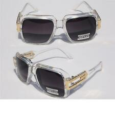 Clear Frame Square Hipster Retro SunGlasses Gold Metal Accents