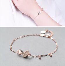 Armband, Armkette, 925 Silber, Rosevergoldet, Doppelherz, Liebe, Zirkonia, NEU