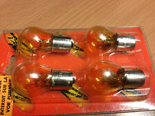 4 Ampoules BA15S en 12V21W couleur ORANGE à mono-filament pour motos / scooters