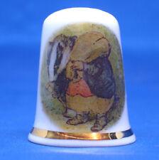 Birchcroft China Thimble -- Beatrix Potter - Tommy Brock -- Free Gift Box
