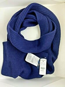 BROOKS BROTHERS Navy Blue Cable Knit Merino Wool Scarf 80 inches Unisex