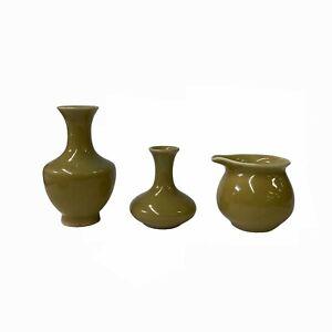 3 x Chinese Clay Ceramic Khaki Color Wu Ware Small Vase Set ws1523