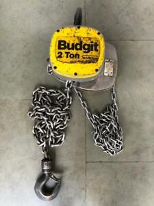 BUDGIT 8253SR MANUAL CHAIN HOIST 2 TONS CAPACITY 8 FT. CHAIN LENGTH