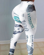 Womens Casual White 100 Dollar Bill Bodycon Tight Leggings Yoga Pants SIZE S-2XL