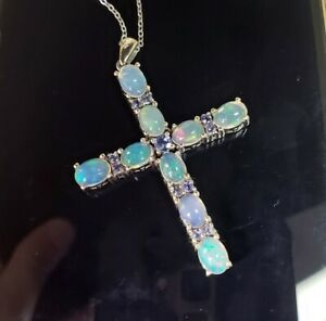 7x5mm Oval Fire Opal Round Tanzanite 925 Sterling Silver Cross Pendant Necklace