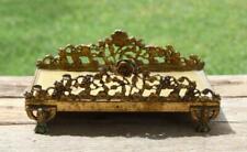 "Vintage GUILDCREST 24kt Gold Plated Footed Vanity Display Stand ROSES 8.75"" RARE"