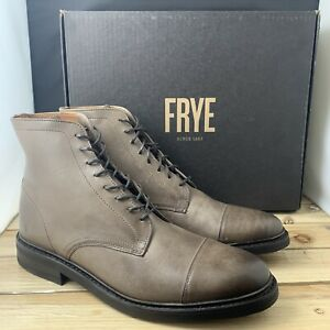 Frye Men's Seth Cap toe Lace up Boots Size 9.5 Stone $228