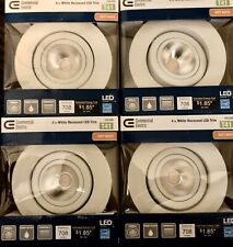 Lot of 4   4 in. White Integrated LED Recessed Gimbal Trim with Pivot and Rotate