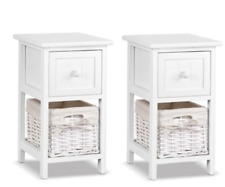 Set of 2 Bedside Table Drawer Storage Cabinet Wicker Basket Country Rustic White
