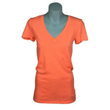 Victorias Secret Pink Womens Top Size S Neon Peach Short Sleeve Sheer T-Shirt
