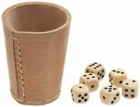 DICE CUP 100 % LEATHER POKER BAR GAMES CASINO SHAKER  and 5 Dice 16mm