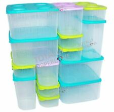 Tupperware Fresh N Cool Set of 20 Fridge Storage Containers Blue Green Purple