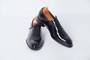 Handmade Men Black Patent Leather Wholecut Oxford Dress Shoes, Formal Shoes