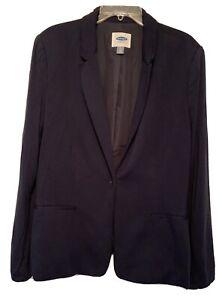 Old Navy Women's Dark Navy Blazer XL Tall Rayon Spandex Pockets Collar Lined