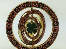 Triple 4 Leaf Clover Spinner Suited Card Guard Poker Hand Protector Metal NEW