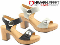 Ladies Heeled Sandals Heavenly Feet Strappy Dress Evening Summer Cushioned Shoes