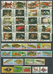 Sea and river Fishes lot  ☀ Two scans - CTO/Used 80 stamps