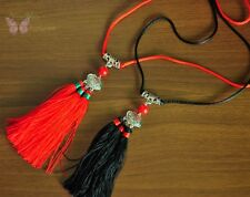 New fancy tribal handmade Black tassel and carved tibetan silver long necklace